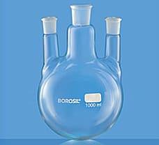 Flask, Round Bottom, Three Necks w/ Two Parallel Side Necks, 100 ml-4384B16