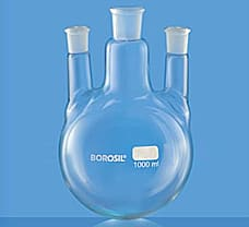 Flask, Round Bottom, Three Necks w/ Two Parallel Side Necks, 100 ml-4384D16