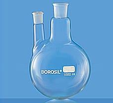 Flasks, Round Bottom, Two Necks w/ One Parallel Side Neck, 100 ml-4382A16