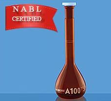 Flasks, Volumetric, w/  Stopper, Class A, Amber w/ NABL Certificate, 25 ml-2021009