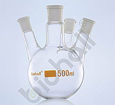 Four Neck- Parallel Round Bottom Flask, Class A, 3000ml