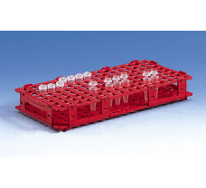Microtube rack, PP, 265x126x38 mm for 128 tubes up to diameter 11 mm, red
