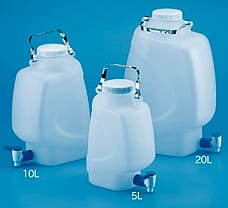 Rectangular Carboy with Stopcock, Material: PP Autoclavable, 20 L