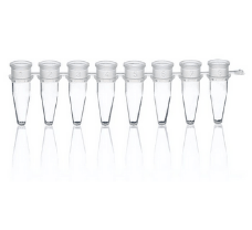 Strips of 8 PCR tubes, PP, attached single caps, 0.15 ml, BIO-CERT PCR QUALITY, Low Profile