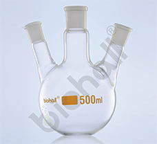 Three Neck- Angular Round Bottom Flask, Class A, USP, 500ml