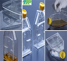 Tissue culture flask 115 cm2 with re-closable lid and barrier